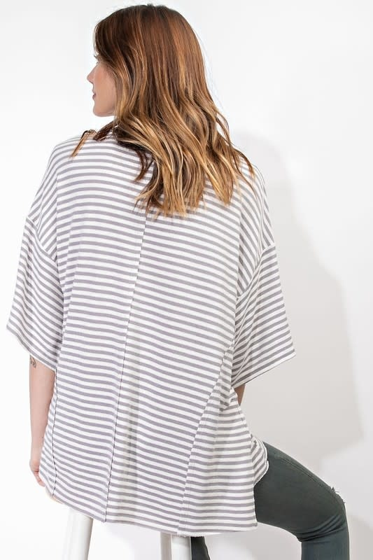STRIPED LT TERRY KNIT BOXY TEE