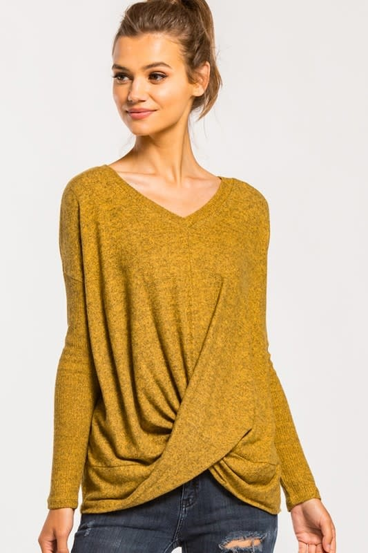 L/S VNECK TWIST BRUSHED KNIT TOP