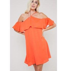 FLOUNCE HALTER SHIFT DRESS