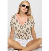 leopard terry vneck top