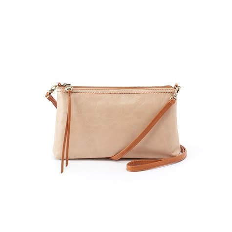 HOBO DARCY LEATHER CONVERTIBLE CROSSBODY CLUTCH PARCHMENT