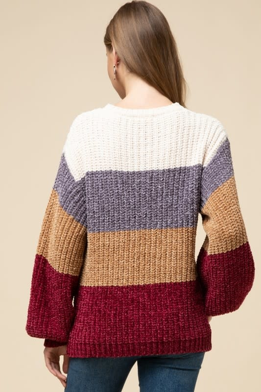 CHENILLE COLOR BLOCK SWEATER TOP