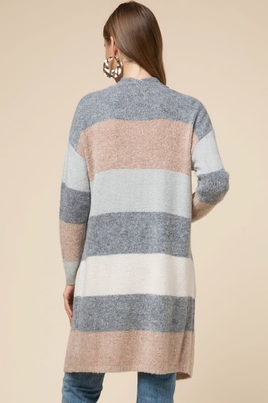 CHENILLE STRIPED LONG CARDIGAN