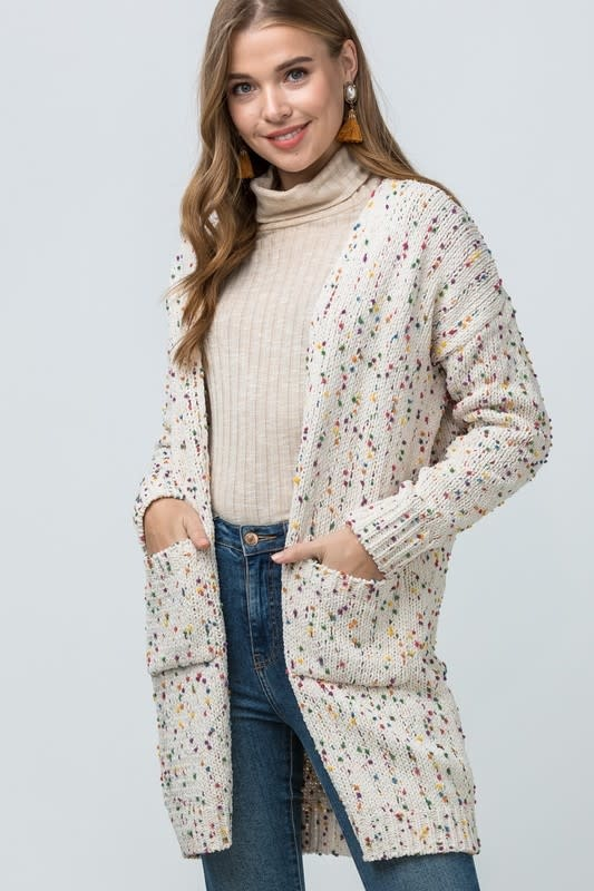 SPECKLED KNIT CARDIGAN
