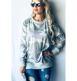 and the why camo print l/s top