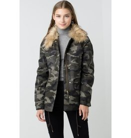 LOVE TREE FAUX FUR ANORAK JACKET