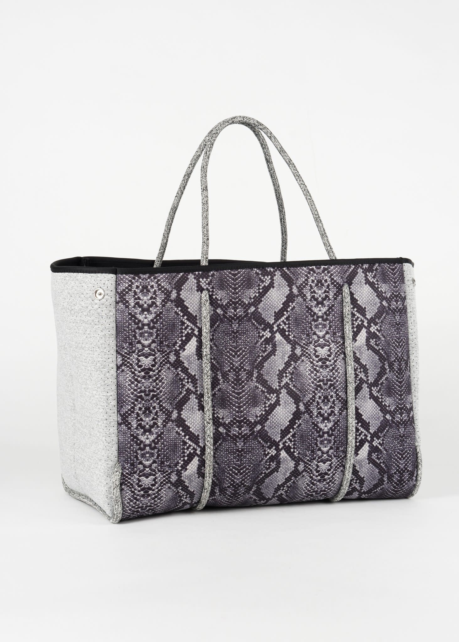 GREYSON GREYSON REBEL HANDBAG - PYTHON/LIGHT GREY