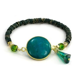 LAURA JANELLE RGLB DAINTY FOCAL BLUE-GREEN BEADED BRACELET