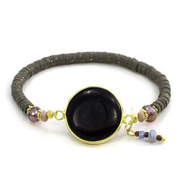 LAURA JANELLE RGLB DAINTY FOCAL BLACK STONE BEADED BRACELET