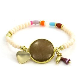 LAURA JANELLE RGLB TAN AGATE HEART BEADED DAINTY FOCAL BRACELET