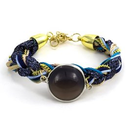 LAURA JANELLE RGLB BRAIDED BLUE/BEIGE FOCAL BRACELET