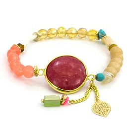 LAURA JANELLE RGLB DAINTY FOCAL RED AGATE LEAF BEADED BRACELET