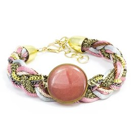 LAURA JANELLE RGLB BRAIDED PINK & SILVER AND GOLD FOCAL BRACELET