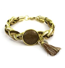 LAURA JANELLE RGLB BRAIDED TAN & BROWN FOCAL BRACELET