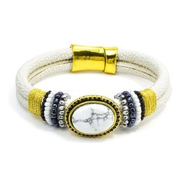 LAURA JANELLE RGLB WHITE MARBELED STONE WITH DOUBLE WHITE SPECKLED BAND WITH MAGNETIC BANDSPECKLED BAND WITH MAGNETIC BAND