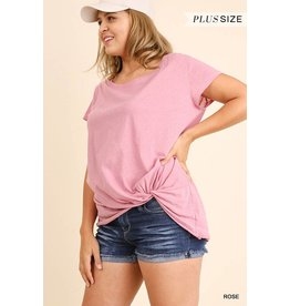 SHORT SLV TOP W/ SCRUNCHED UP DETAIL AND UNFINISHED HEMLINE