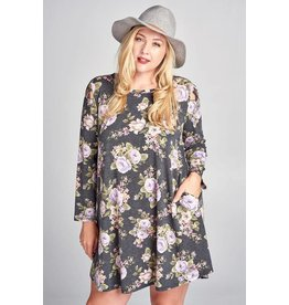 BETHANY FLORAL KNIT PRINT L/S DRESS  W/ CRISS CROSS STRAP