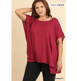 PLUS DOLMAN SLEEVE SQ NECK SHARK HEM