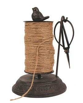 "8""H Cast Iron String Holder w Scissors and Jute  (54 Yards)"