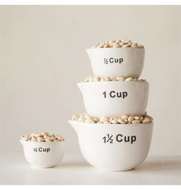 Stoneware Measuring Cups, White, Set of 4