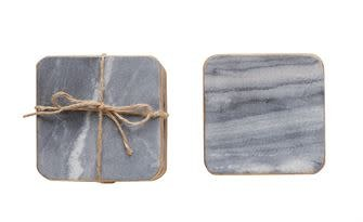 "4"" SQ MARBLE COASTERS, GREY/ GOLD EDGE, S/4"