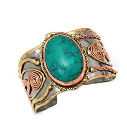 MIXED METAL CUFF BRACELET TURQUOISE