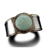 JANYA MIXED METAL RND SEMI PRECIOUS CUFF