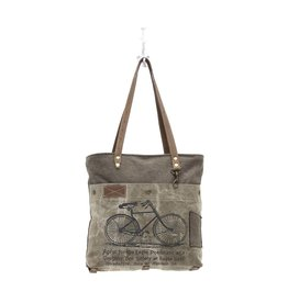 BICYCLE PRINT CANVAS TOTE BAG GREEN