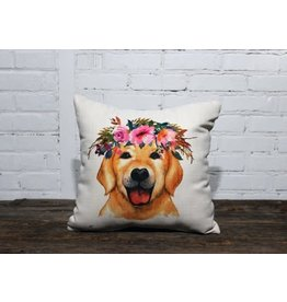 FLOWER CROWN YELLOW LAB PILLOW