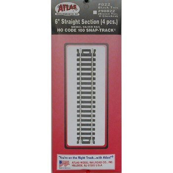 """Atlas HO Code 100 Straight 6"""" Track Section # 822"""