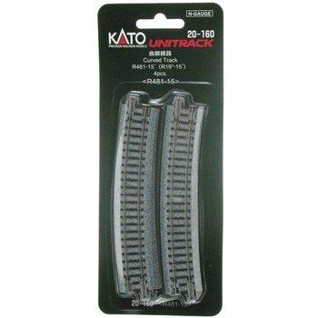 Kato Trains Kato N Curved Track R481-15 Deg # 20-160