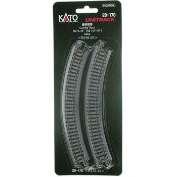 Kato Trains Kato N Curved Track (8 9/16) Radius 45 (4) #20-170