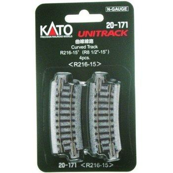 Kato Trains Kato N Curved Track R216mm 15 Degree Curve (4) # 20-171