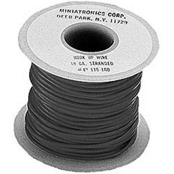 Miniatronics 18 Gauge Stranded Single Conductor Wire - 100' 30m -- Black