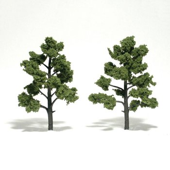 """Woodland Scenics Ready-Made """"Realistic Trees"""" - Deciduous - 5 to 6""""  12.7 to 15.2cm pkg(2) Light Green # 1512"""