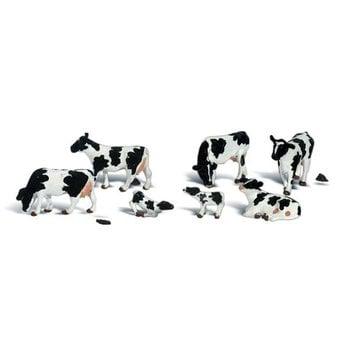 Woodland Scenics O Animal Figures Holstein Cows pkg (7) # 2724