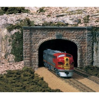 Woodland Scenics Double-Track Tunnel Portal (Hydrocal Plaster Casting) -- Cut Stone (Unpainted) # 1257