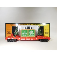 MTH O Gauge Christmas (Red) Flatcar with Lighted Christmas Trees #30-76821