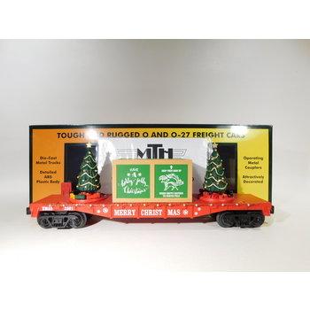 MTH O Gauge Christmas (Red) Flatcar with Lighted Christmas Trees #30-76821