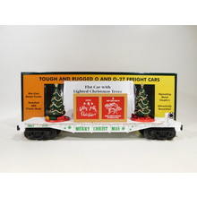 MTH O Gauge White Flatcar w/ Lighted Christmas Trees #30-76823
