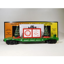 MTH O Gauge Green Flatcar w/ Lighted Christmas Trees #30-76773