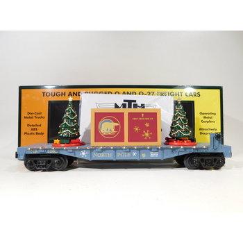 MTH O Gauge North Pole Flatcar w/ Lighted Christmas Trees #30-76824
