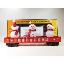 MTH O Gauge Red Christmas Gondola w/ LED Christmas Lights & Lighted Snowmen #30-72210