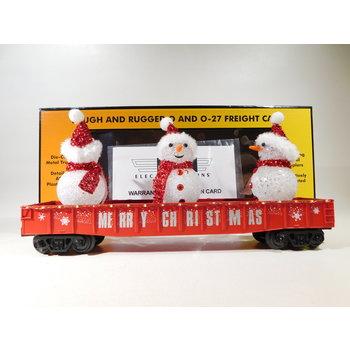 MTH O Gauge Red Christmas Gondola w/ LED Christmas Lights & Lighted Snowmen #30-72210