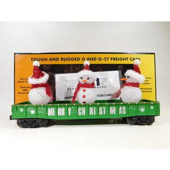 MTH O Gauge Green Christmas Gondola w/ LED Christmas Lights & Lighted Snowmen #30-72211