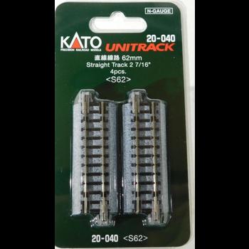 "Kato N Scale Straight Track 2 7/16"" #20-040"