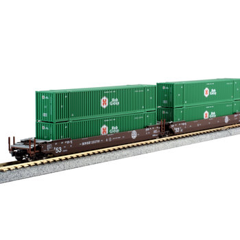 Kato Trains Kato N Scale Gunderson Maxi Double Stack BNSF with Containers # 106-6177