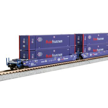 Kato Trains Kato N Scale Gunderson Maxi Double Stack Pacer with Containers # 106-6180