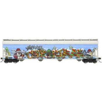 Atlas HO ACF DOWX 5800 Plastics hopper # 66122 ( Christmas Graffiti ) # 20006330