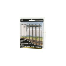 Woodland Scenics HO Pre-Wired Utility System Double Crossbar Poles # US2266